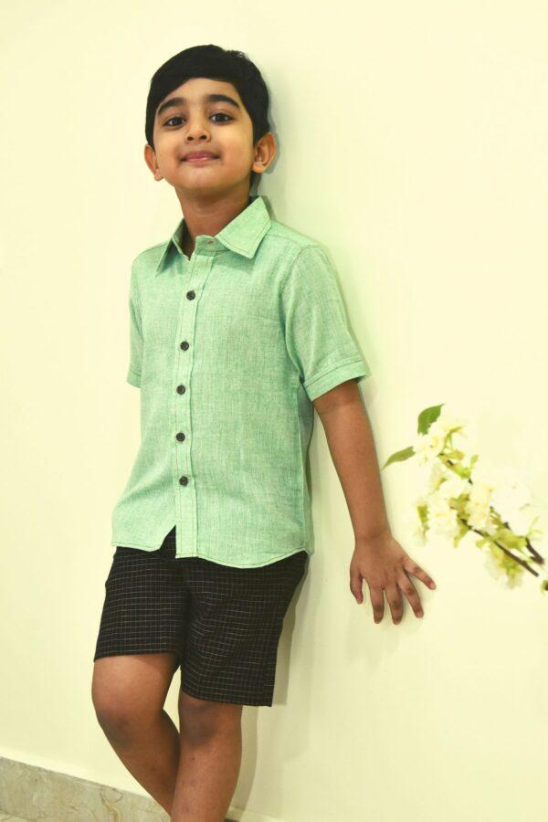 Khadi Light Green shirt for boys