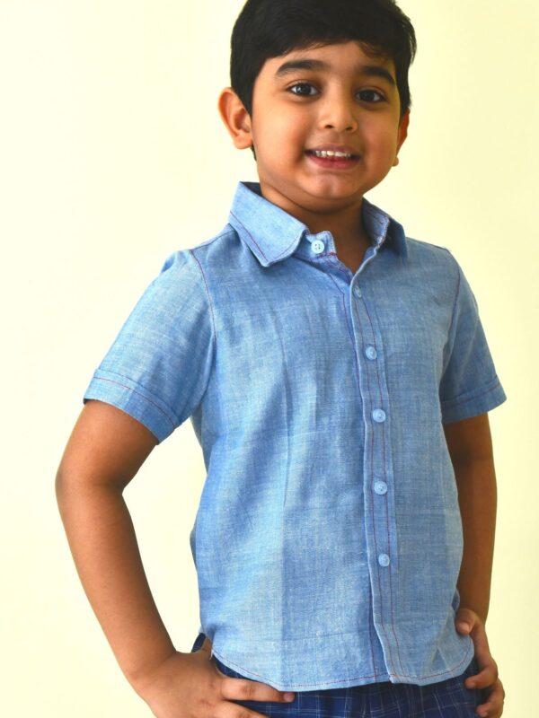 Handloom Blue shirt in Khadi