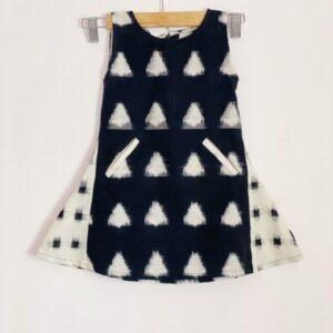 Double ikkat black & white dress for girls