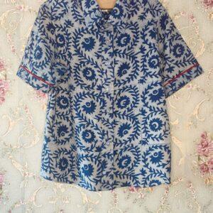 block printed cotton shirt in light blue