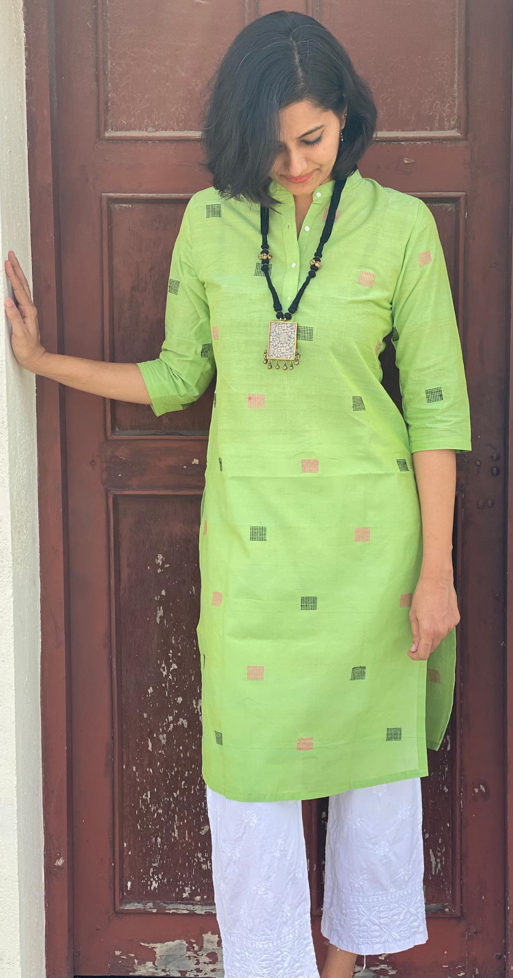 Mint green kurta for women in handloom by Pali