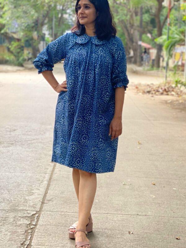 Knee length indigo block printed dress by Pali