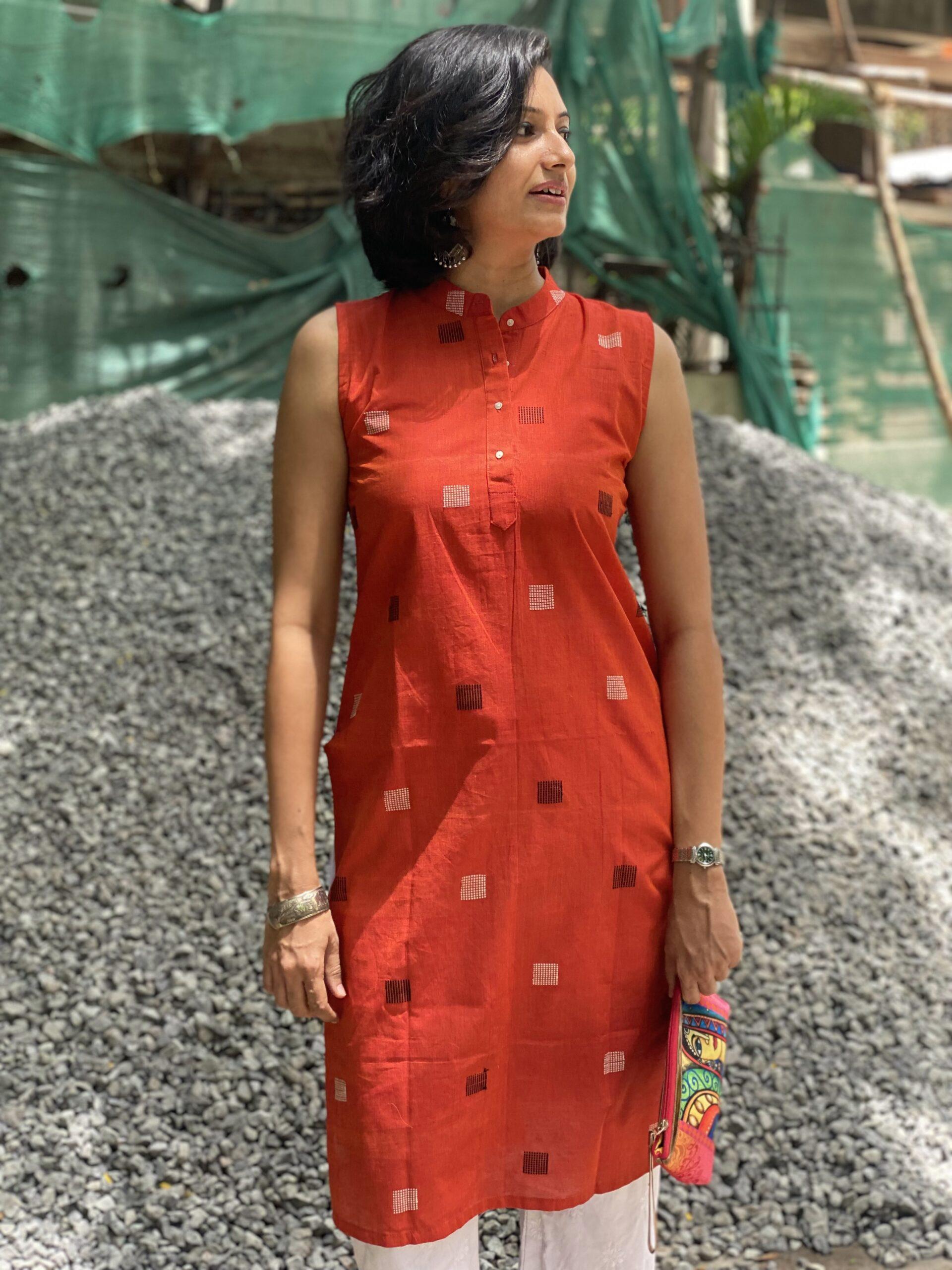 Handloom red kurta for women