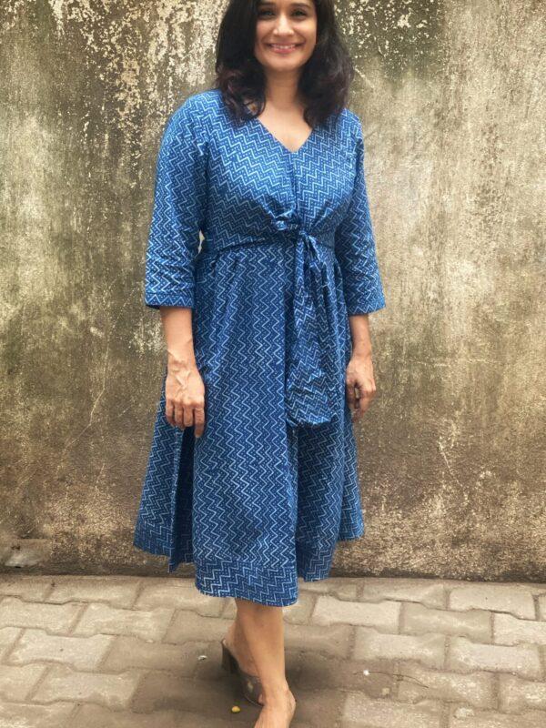 Indigo Block printed dress