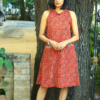 Ajrakh printed Red dress for women