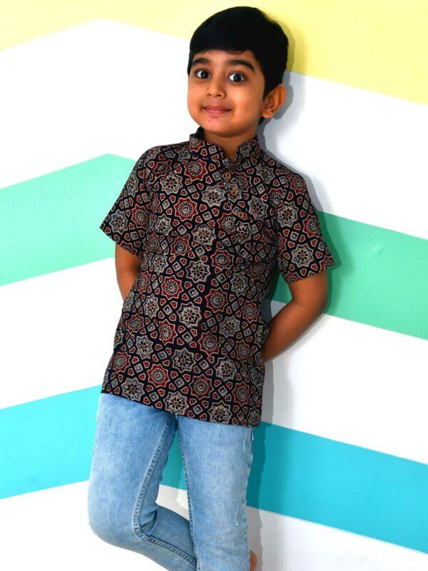 Ajrakh Black Kurta Shirt for Boys
