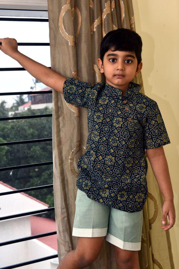 Ajrakh Blue kurta shirt for boys