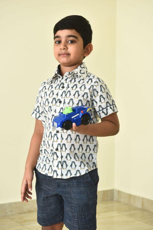 Block printed penguin shirt for boys