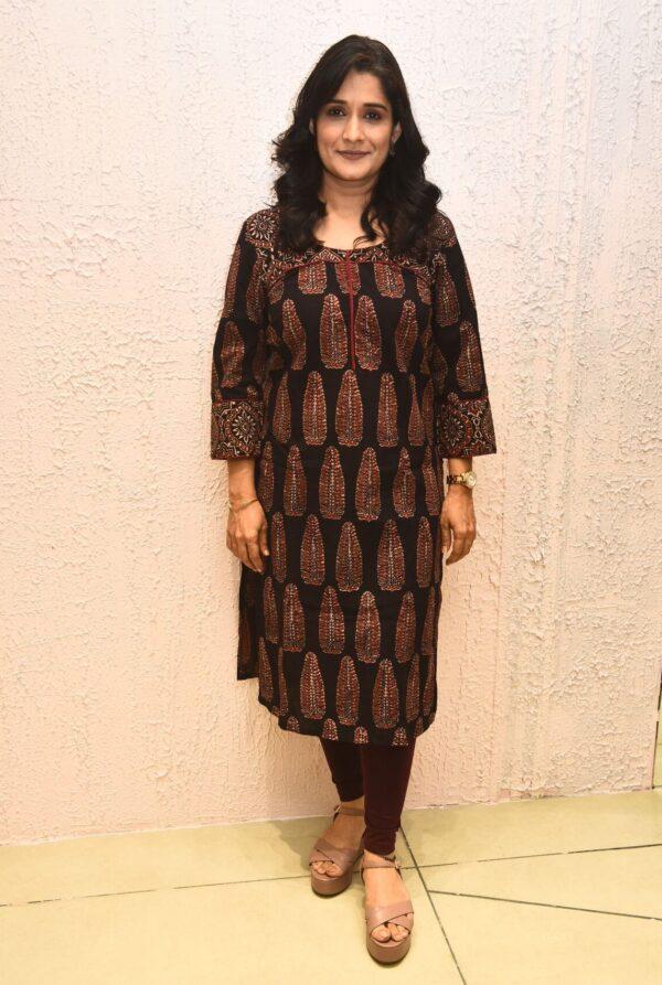Ajrakh Black kurta for women